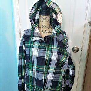 Ralph Lauren Green Plaid Jacket Hood H1342
